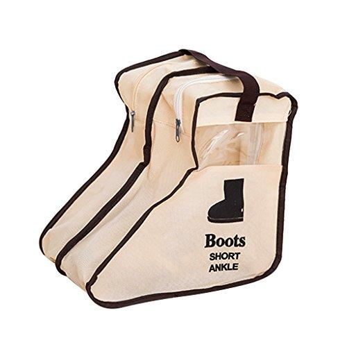 Tissu Sac Zippé Organisateur à Stockage de Chaussure Bottes Courts -Beige