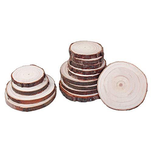 QQLCK Untersetzer 10 Stücke Natürliche Runde Holz Scheibe Tasse Matte Coaster Tee Kaffeetasse Getränkehalter Für DIY Geschirr Decor Durable, 8-10 cm (9 Stück Runder Esstisch Set)