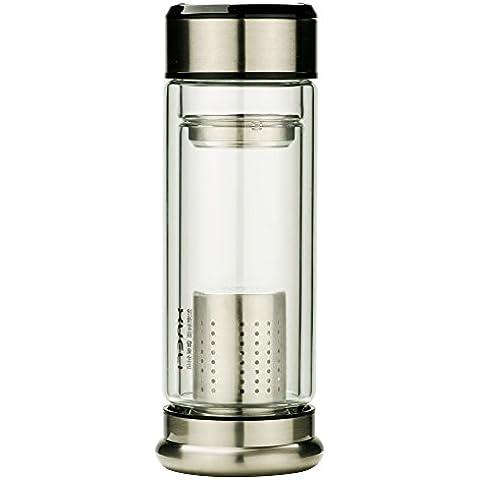 Nueva manera de la llegada de vidrio botella de agua creativa formado 270ml de la caldera de acero inoxidable sistema de infusión del té del tamiz y carbón activado