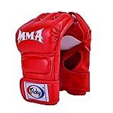 FLYOU Sport Handschuhe für Sparring Martial Arts Training für Männer & Frauen,Leder-Halbfingerhandschuhe,Geeignet für Käfigkämpfe,Boxsack,Muay Thai und Kickboxing,Farbe (Schwarz, Rot, Weiß)
