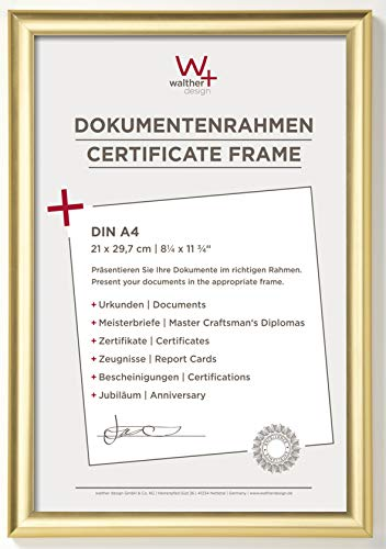 walther design KP130G Trendstyle Kunststoffrahmen 21x29, 7 cm DIN A4, Gold