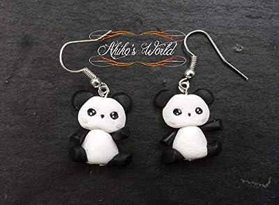 Boucles d'oreilles pendantes panda kawaii en pâte polymère - Bijoux fantaisie