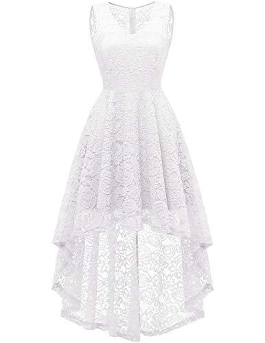 Dresstells Vokuhila Cocktailkleid elegant Spitzenkleid V-Ausschnitt Ärmellos Floral Festliche Kleider White 3XL White Floral-kleid