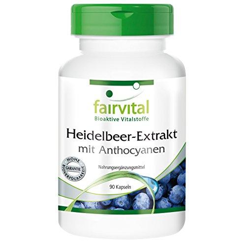 Heidelbeer-Extrakt mit Anthocyanen - 90 Kapseln vegetarisch - Super-Beere für Augen und Mikrozirkulation. Test