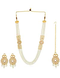 Karatcart 22K GoldPlated Kundan Layered White Pearl Ethnic Necklace Set for Women