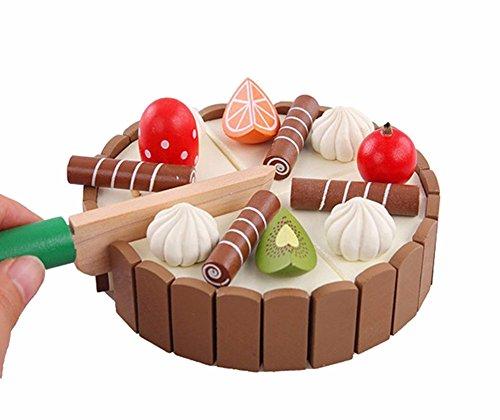 Leisial™ Mini Set de Juguete para Niños Cortar Tarta de Cumpleaños con Pastel de Fruta Alimento de Juguete Madera Cocina y Comida Estuche de Juego