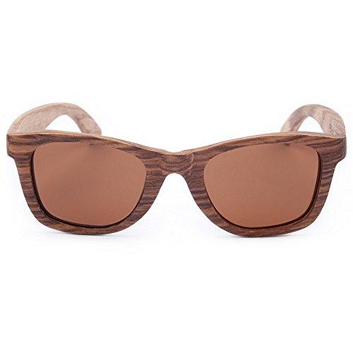 Yiph-Sunglass Sonnenbrillen Mode Herren Sonnenbrillen Katzenaugen Holz Sonnenbrillen Handmade Polarized TAC Braune Linse Retro Quadrat Zebra Holz UV-Schutz Fahren Sonnenbrillen Strand Sonnenbrillen