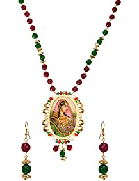 "Sabia Souq ""The Royal Jodha Designer Piece"" Pendant High Quality 22k Gold Plated Pendant Set With Earring For..."