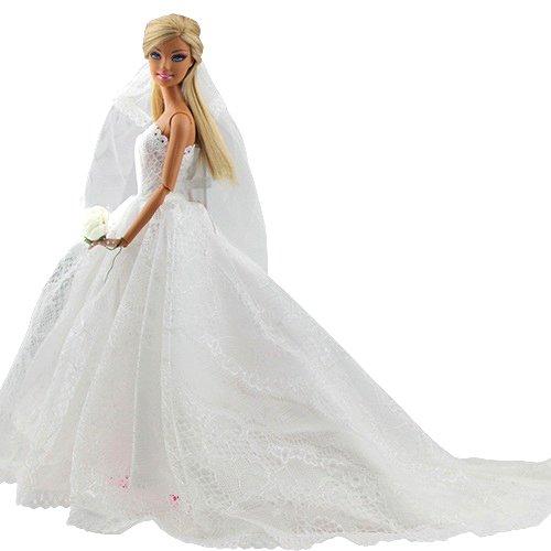Abendkleid Spitze Zug Kleidung Kleider Brautkleid Ballkleid mit Brautschleier für Barbie Puppen