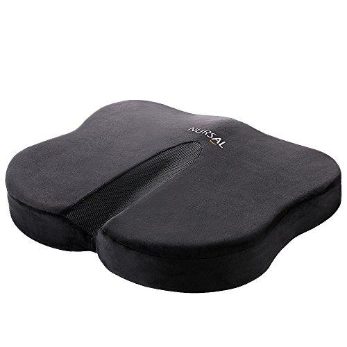 Nursal Rückstellschaum Orthopädisches Sitzkissen, Schmetterlingform Design zur Schmerzlinderung am unteren Rücken, Steißbein und Ischias mit schwarzem waschbaren und atmendem Bezug