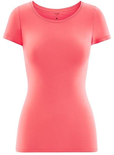 oodji Ultra Damen Tailliertes T-Shirt Basic Rosa (4300N)