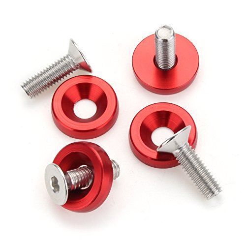 DyNamic 20Pc M6 Billet 6061 Aluminum Bumper Washer Mit Bolt Red -