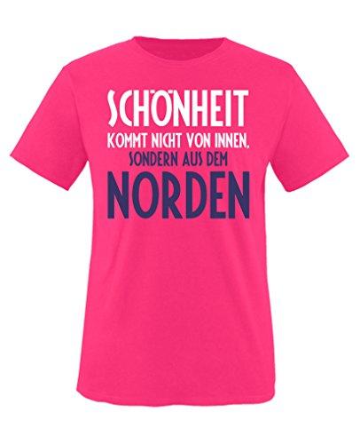 Comedy Shirts - Schönheit kommt nicht von innen, sondern aus dem Norden - Mädchen T-Shirt - Pink /...