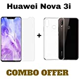 M.G.R.J® Transparent Back Cover and Tempered Glass for Huawei Nova 3i (Combo Pack)