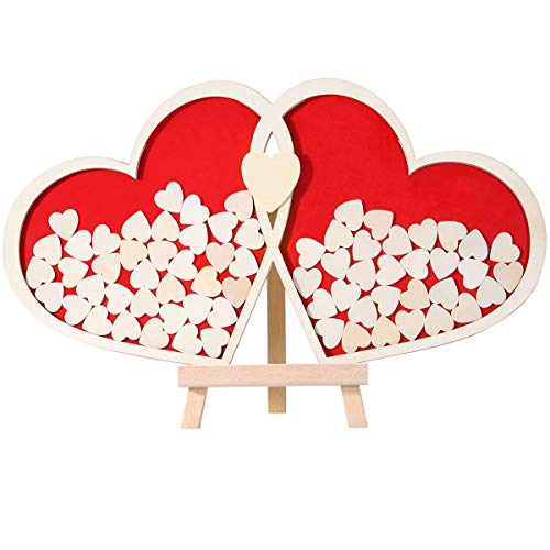 Homemaxs Gästebuch Hochzeit Holz Gästebuch Hochzeitsgästebücher, Große Größe - 50x55cm, 100 Stück Herz Holzkarte und 2 Stück Groß Herz Holzkarte zum Schreiben EIN Ehepaar Name, mit Schönem Holzrahmen
