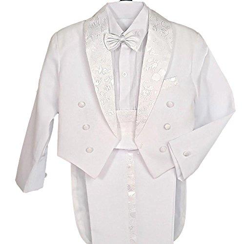 Lito Angels Jungen 5 Stück set Formale Tuxedo Anzug mit schwanz Taufe Taufanzug Page Boy Anzug Gr. 3 Jahre Weiß