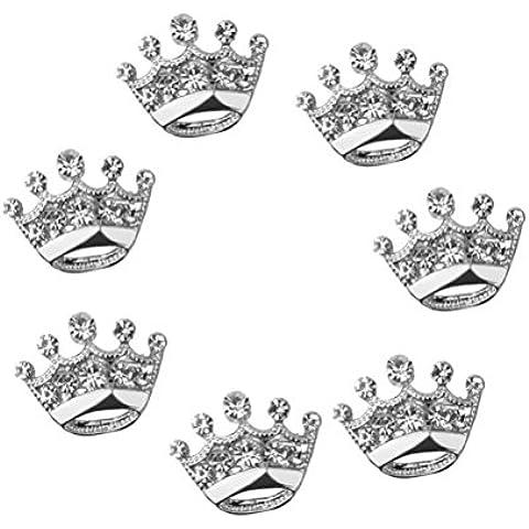 FENICAL Desfile fiesta Tiara corona ramillete broche de diamante boda Pin 12pcs (plata)