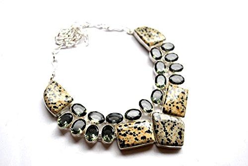 Indie Artisans NATÜRLICHE DALMATION & GREEN AMETHYST Halskette für Frauen STERLING SILBER Überzogene handgemachte natürliche Edelstein Damen (Dalmation Outfits)