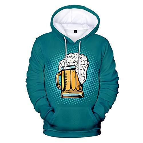 BCFUDA Herren Herbst Winter Kapuzenpullover 3D Druck Langarm Hoodies Beer Festival Warm Halten Sweatshirt Mode Outdoor Freizeit Streetwear -