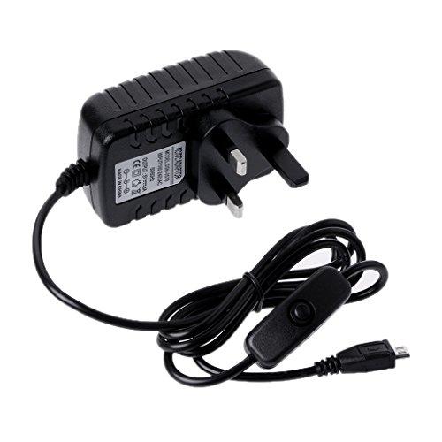 Hergon AC 100-240 V 50/60 Hz Netzteil 5 V 3A USB Lade Schalter Taste Kabel Für Raspberry Pi 3 Modell B (UK)