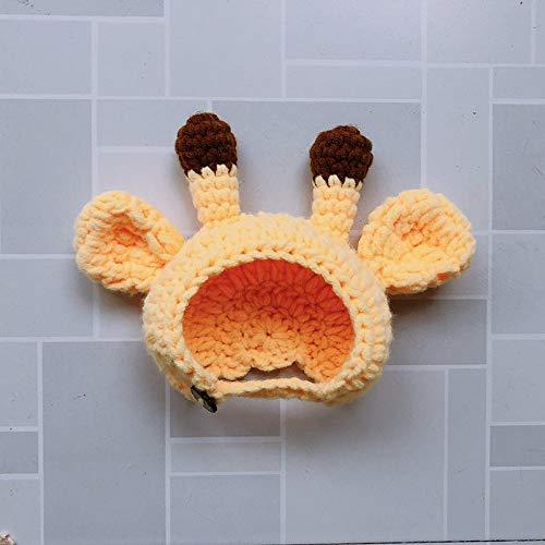 Fighrh Nette Art und Weise nettes Tier mit Tierhut Weihnachten Halloween im Freienfeiertags-Dekoration Netter Katzen-Hundeteddy-lustiger Haustier-Dressing-Rotwild-Kopfbedeckung-Gelb (Größe : S)
