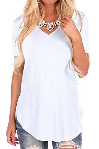 Bequemer laden manica corta da donna t-shirt con scollo a v sciolto casuale cime camicie tops blusa
