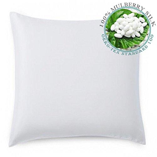 LULUSILK 19 Momme 100% Seide Kissenbezug Kissenhülle mit Baumwolle Rückseite 1 Stück, 80x80cm, Weiß