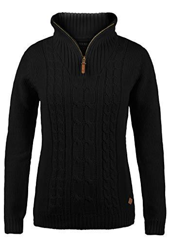 DESIRES Carry Damen Winter Strickpullover Troyer Grobstrick Pullover mit Stehkragen, Größe:XS, Farbe:Black (9000) Cable Knit Hoodie Pullover