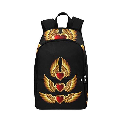 Herz bildet goldene Flügel zufällige Daypack Reisetasche College School Rucksack für Männer und Frauen (Bildet Zertifikat)