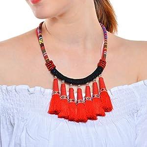 XUHAHAXL Halskette/Retro-Folk-Stil Übertriebene Accessoires, Handgemachte Lange Quasten Anhänger Halskette Halskette