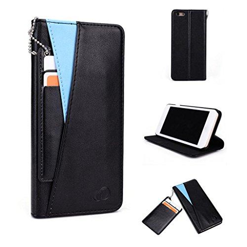 Kroo Seattle Series Étui en cuir smartphone avec Active et Indépendant Solt pour cartes pour Apple iPhone 6Plus magenta bleu