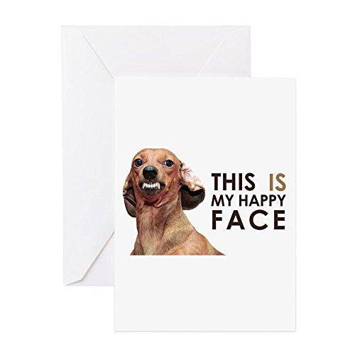 CafePress–Happy Face Dackel–Grußkarte, Note Karte, Geburtstagskarte, innen blanko, matt