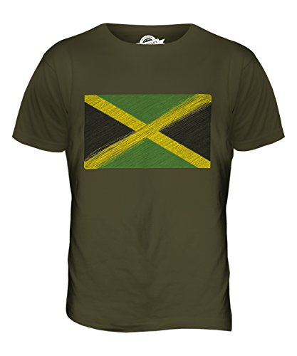 CandyMix Jamaika Kritzelte Flagge Herren T Shirt Khaki Grün