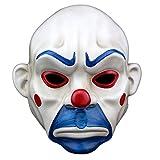 nihiug Harz Handwerk Maske Halloween Batman Clown Räuber Maske Joker Trauer Cosplay,White-OneSize