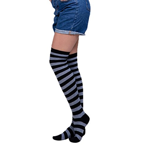 Damen Strümpfe Gestreift, ZIYOU Mode Weich Kniestrümpfe Herbst Winter Socken fit Denim Shorts (G) (Leggings Strumpfhose Shorts)