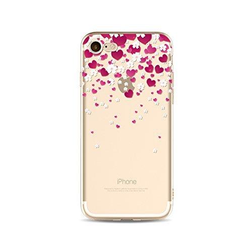 Coque iPhone 7 Housse étui-Case Transparent Liquid Crystal en TPU Silicone Clair,Protection Ultra Mince Premium,Coque Prime pour iPhone 7-Coeur-style 16 10
