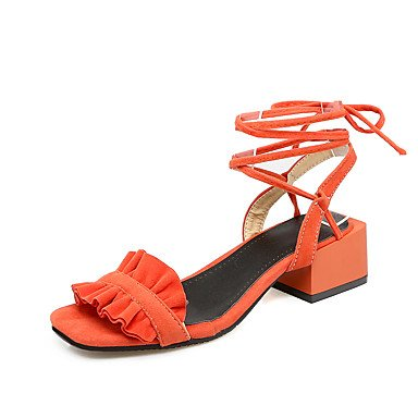Enochx Donna Sandali Primavera Estate Slingback d' Orsay & Comfort in due pezzi in similpelle abbigliamento outdoor Chunky tallone cucitura merletto Lace-up Orange