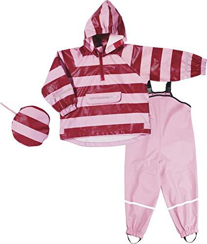 Playshoes Mädchen Regenazug, Matschanzug, Regen-Set Streifen Regenjacke, (Rot/Rosa 788), (Herstellergröße: 104)