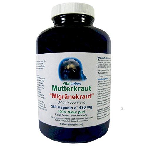 """Mutterkraut """"Migräne Kraut"""" 360 Pulver Kapseln a 430mg #25608   100% Natur pur! KEIN Extrakt! OHNE ZUSATZSTOFFE!"""