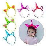 Tumao Haarreif Einhorn Stirnband, 5 Stück Einhorn Horn Kopfbedeckungen Mädchen Blume Stirnbänder Haarband mit LED Licht Für Halloween Weihnachten Karneval Head Accessoires.