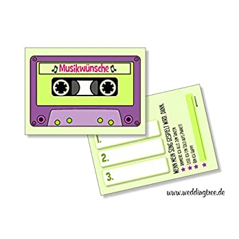 Hochzeit 50 Musikwunschkarten A7 Musikwunsch Hochzeit Hochzeitsfeier 10,5 x 7,4cm Kassette