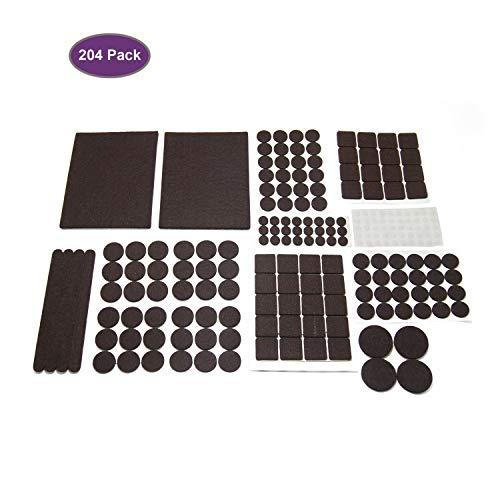 Möbel-Pads 204 Stück selbstklebende Filz-Schutzfolien für Teppichböden Hartholz-Gleiter schützen Möbelfüße und Böden, Anti-Kratz-Rutsch-Kit + Silikon-Stoßstangen für Zuhause, Küche, Türgeräusche