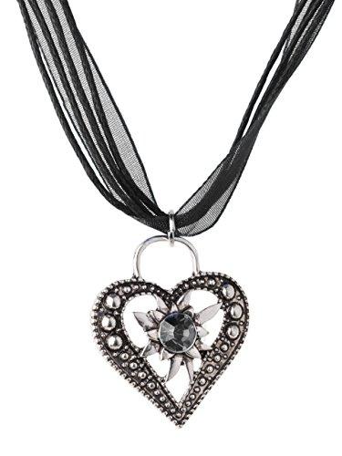 Trachtenkette Wiesnstein eleganter Herz Anhänger mit Strass - Trachtenschmuck Kette für Dirndl und Lederhose (Schwarz)