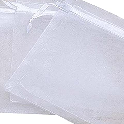 Tenflyer 12x9Cm Pack of 100 Organza Jewelry Packing Pouch Wedding Favor Gift Bags (White)