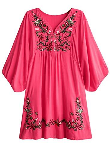 Arjungo Damen mexikanische Tunika-Hemd mit floraler Stickerei, Bohemian Flowy Shift Mini Bluse Top - Rot - X-Groß - Shift-bluse