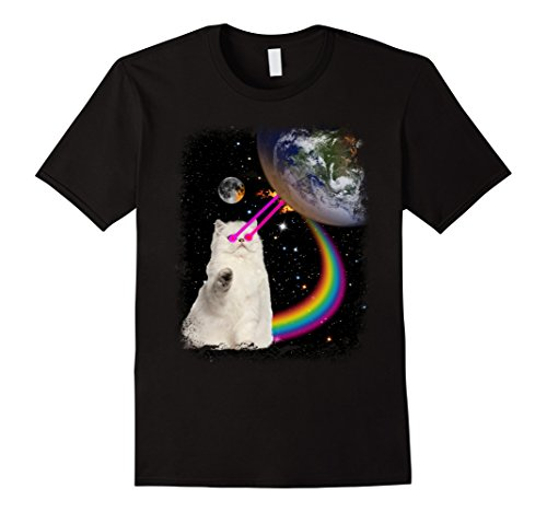 PREMIUM Laser Eyes Space Cat T-Shirt