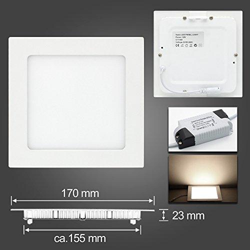 LED Panel Leuchte, Dimmbar 12W 900lm 170x170mm Warmweiß Einbaustrahler Deckenleuchte 3-Jahre Garantie Quadrat 3000K, ersetzt 40W Leuchtstoffröhre, Lochgröße:150~160mm