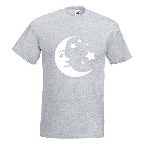 KIWISTAR - Mond und Sterne T-Shirt in 15 verschiedenen Farben - Herren Funshirt bedruckt Design Sprüche Spruch Motive Oberteil Baumwolle Print Größe S M L XL XXL Graumeliert