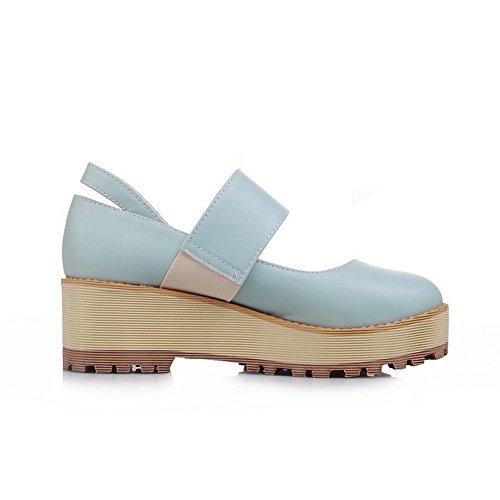 Odomolor Woman Pull Medium Heel Shimmer Pure Round Toe Baile Azul Cerrado Bailarinas