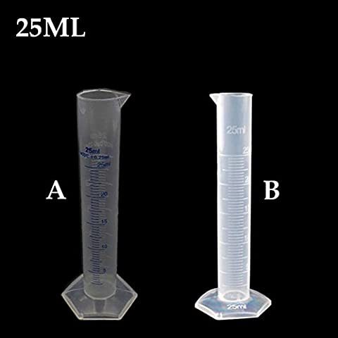 Distinct® 2pcs 25ml Messzylinder Kunststoff abgestufte Labor-Test Liquid Tube Messwerkzeug